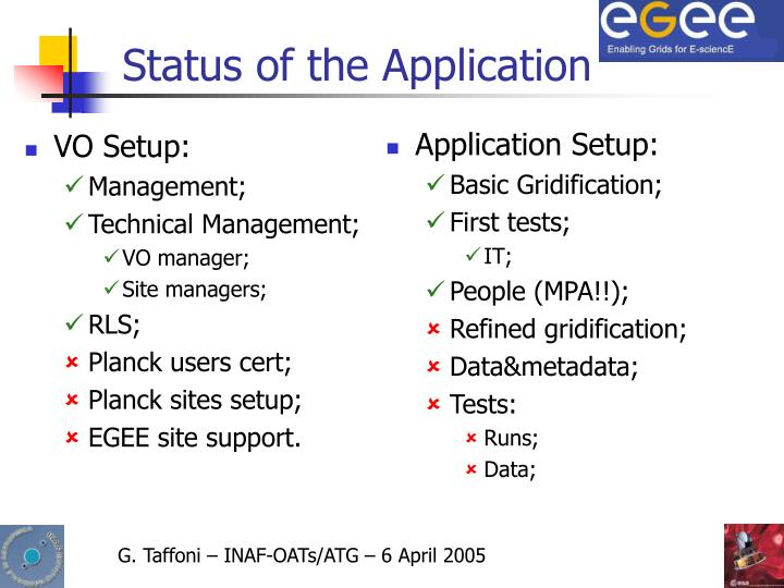 Status of the Application