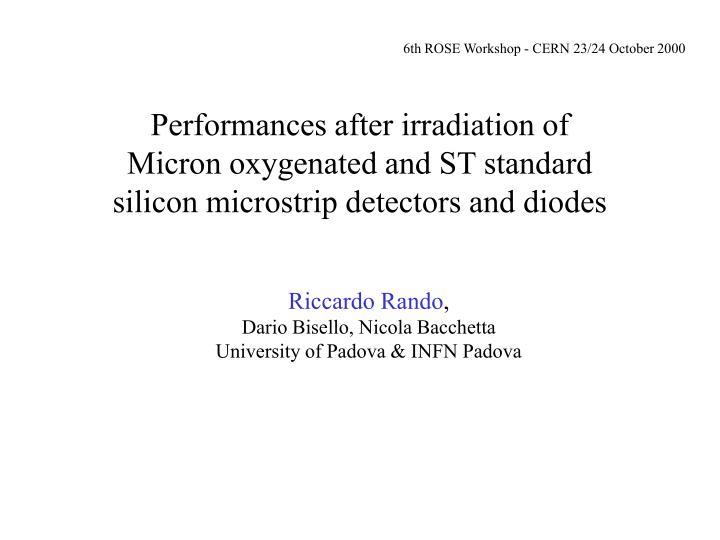 6th ROSE Workshop - CERN 23/24 October 2000