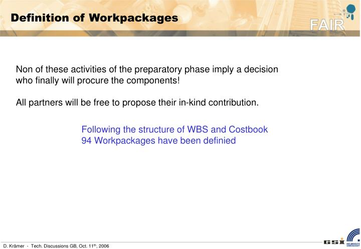Definition of Workpackages