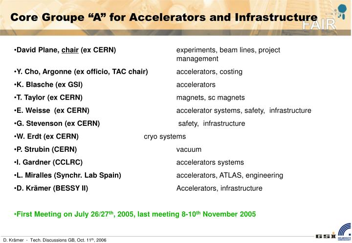 "Core Groupe ""A"" for Accelerators and Infrastructure"