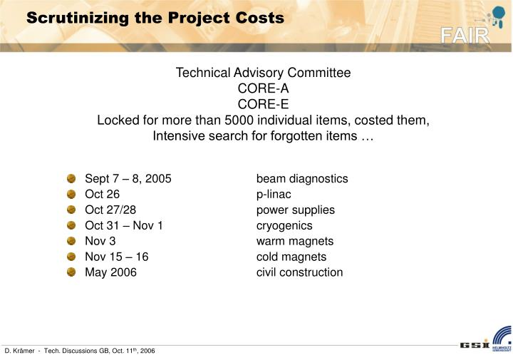 Scrutinizing the Project Costs