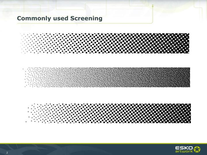 Commonly used Screening