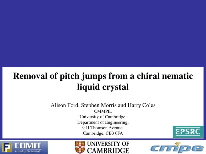 Removal of pitch jumps from a chiral nematic liquid crystal