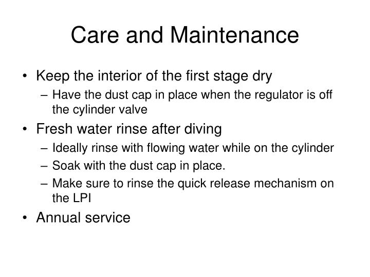 Care and Maintenance