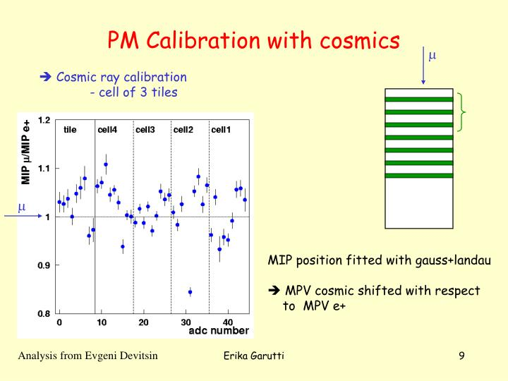 PM Calibration with cosmics