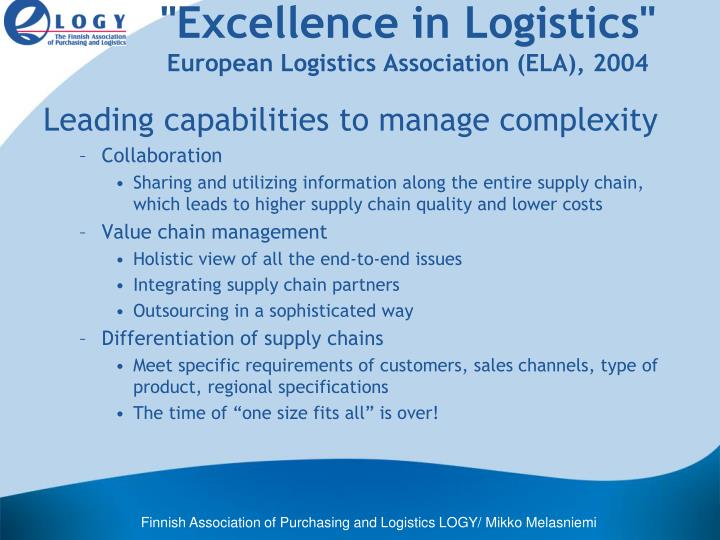 """""""Excellence in Logistics"""""""