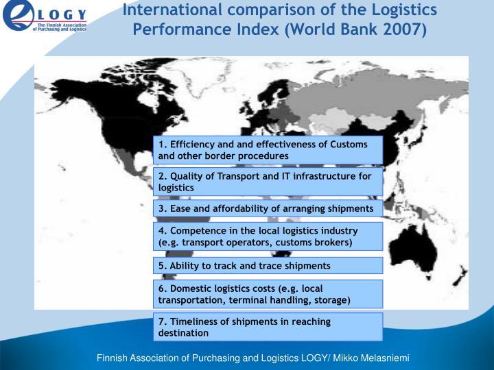 International comparison of the Logistics Performance Index (World Bank 2007)