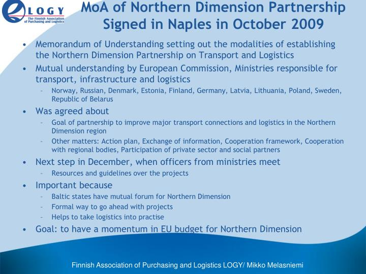 MoA of Northern Dimension Partnership