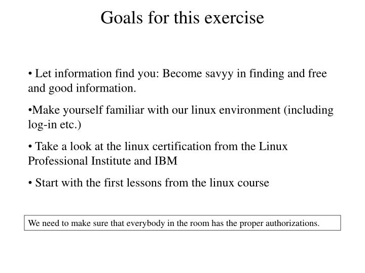 Goals for this exercise