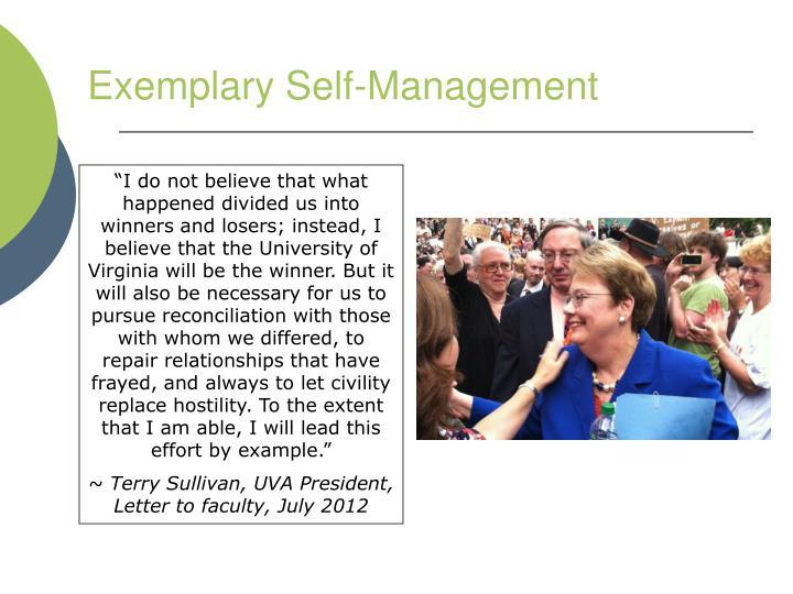 Exemplary Self-Management