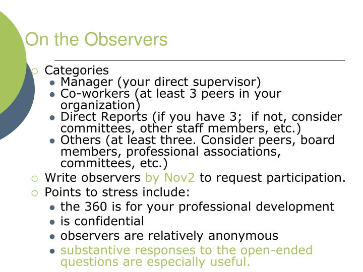 On the Observers