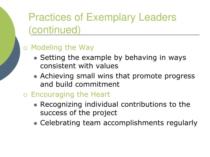 Practices of Exemplary Leaders (continued)