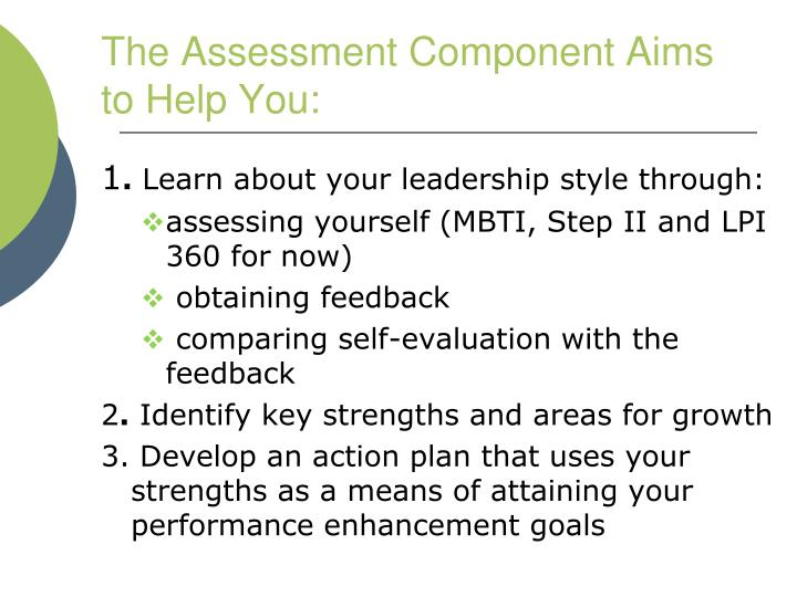 The Assessment Component Aims to Help You: