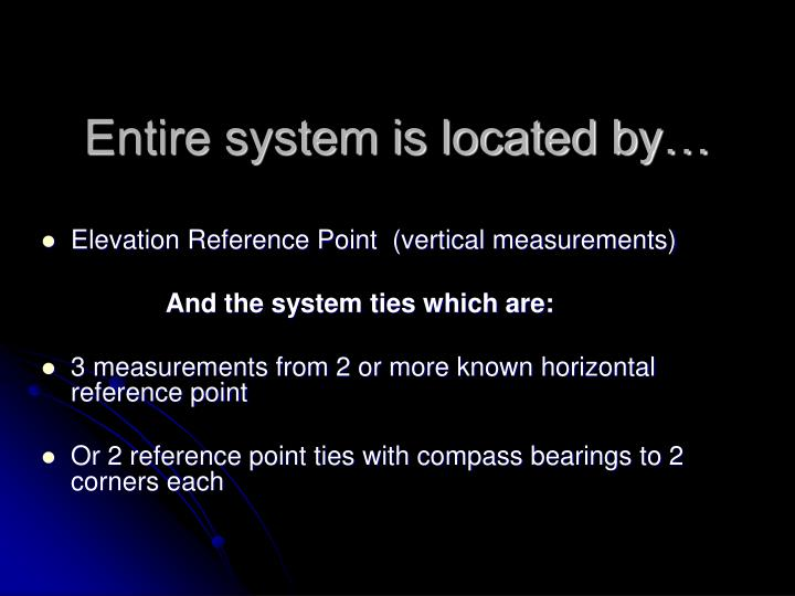 Entire system is located by…