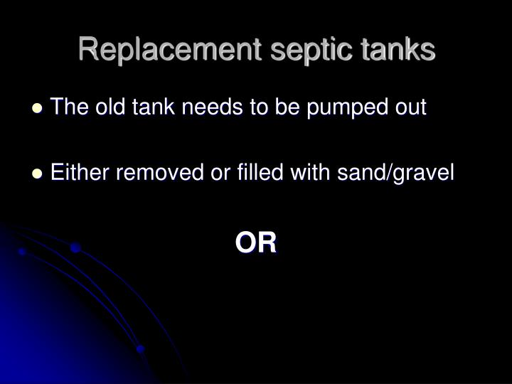 Replacement septic tanks
