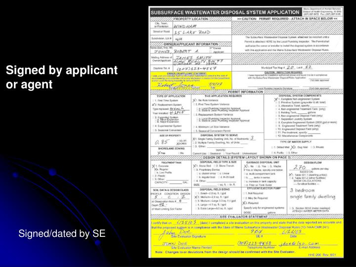 Signed by applicant or agent