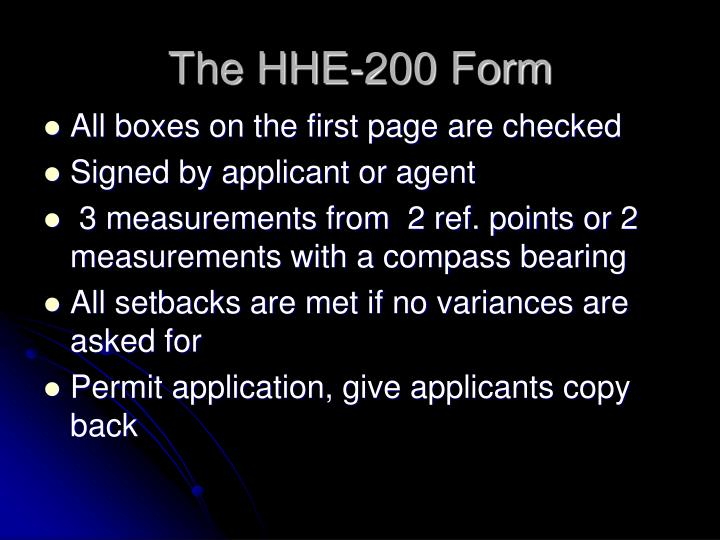 The HHE-200 Form