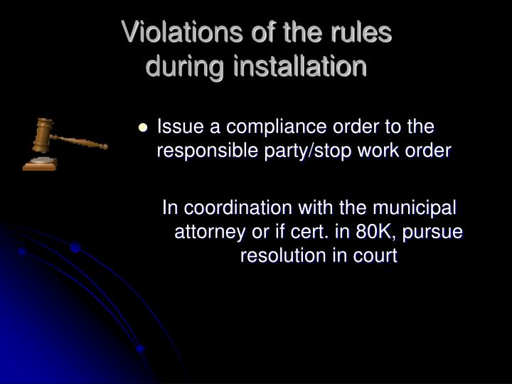 Violations of the rules