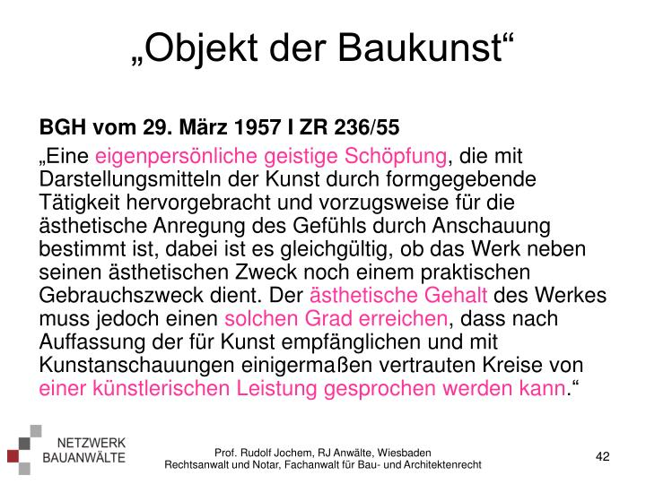 """Objekt der Baukunst"""
