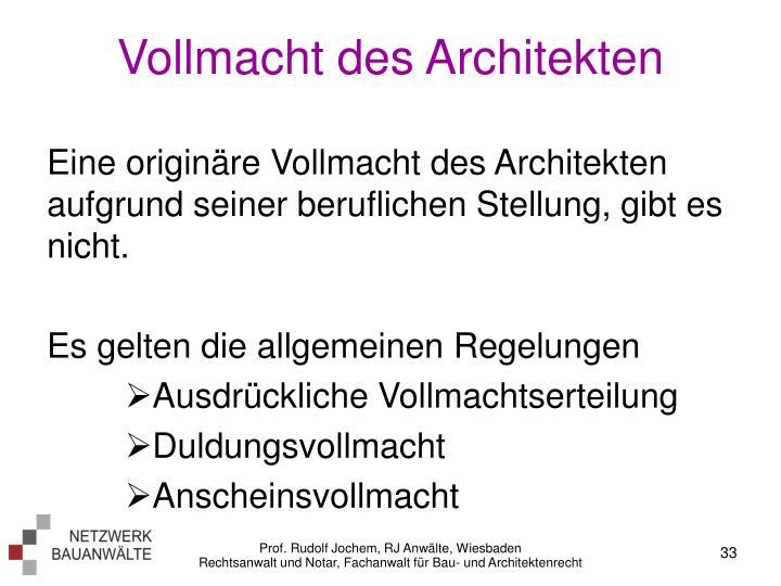 Vollmacht des Architekten
