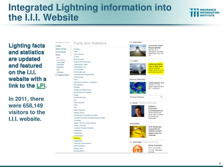 Integrated Lightning information into the I.I.I. Website