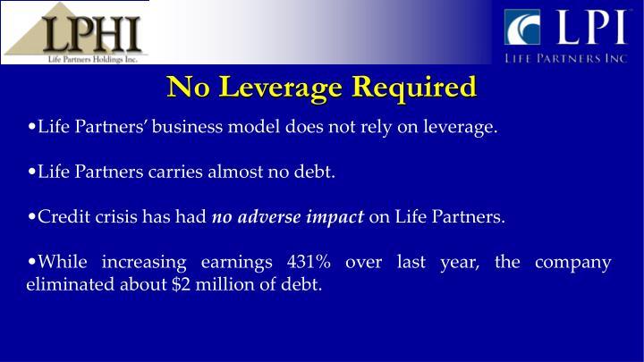 No Leverage Required