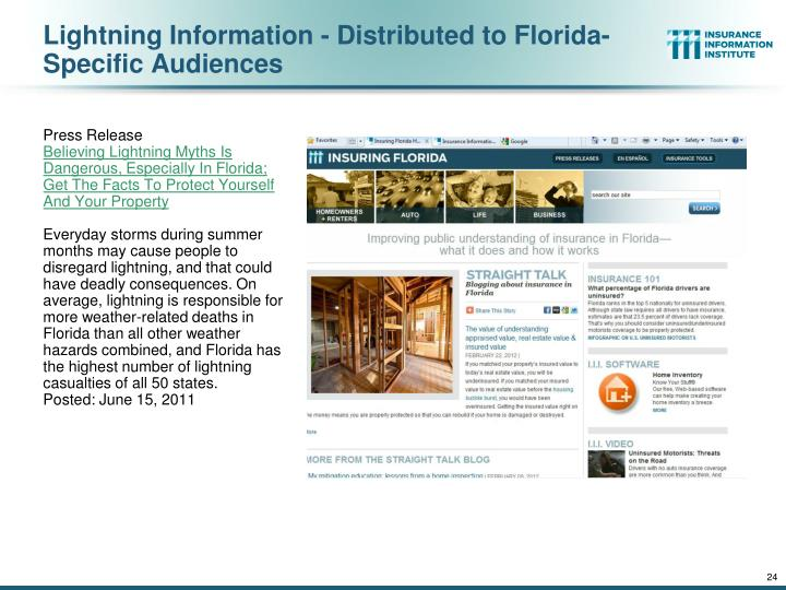 Lightning Information - Distributed to Florida-Specific Audiences