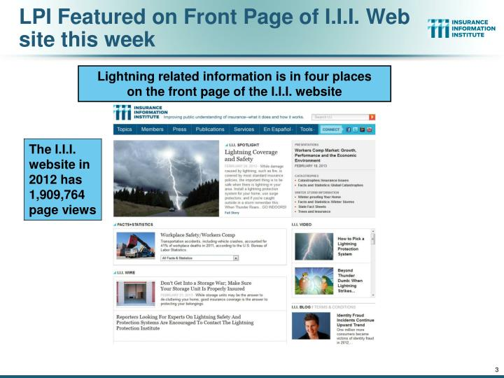 LPI Featured on Front Page of I.I.I. Web site this week