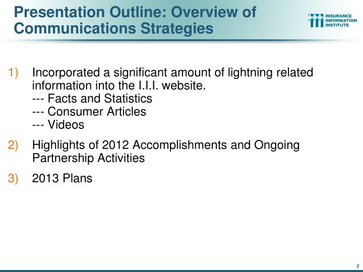 Presentation Outline: Overview of Communications Strategies