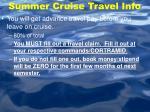 summer cruise travel info