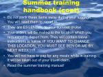 summer training handbook cont