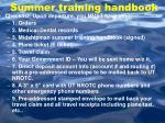 summer training handbook