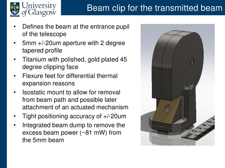 Beam clip for the transmitted beam