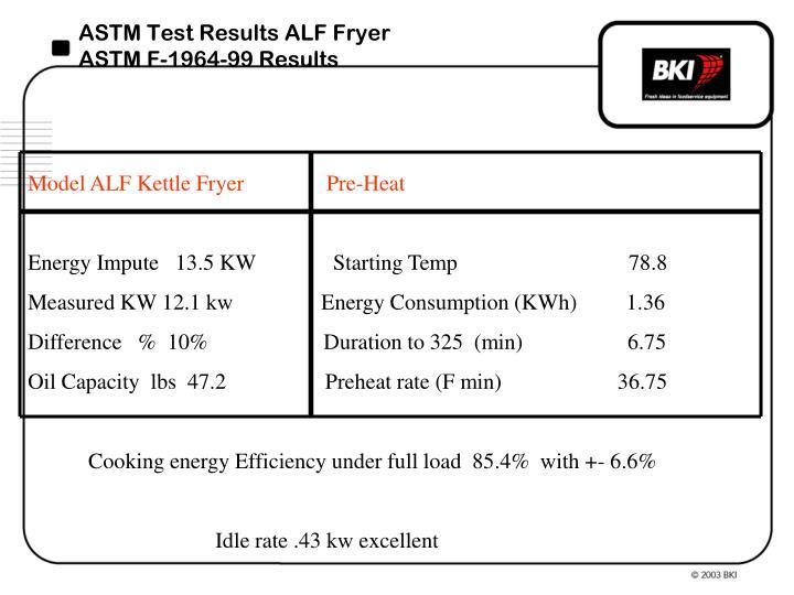 ASTM Test Results ALF Fryer
