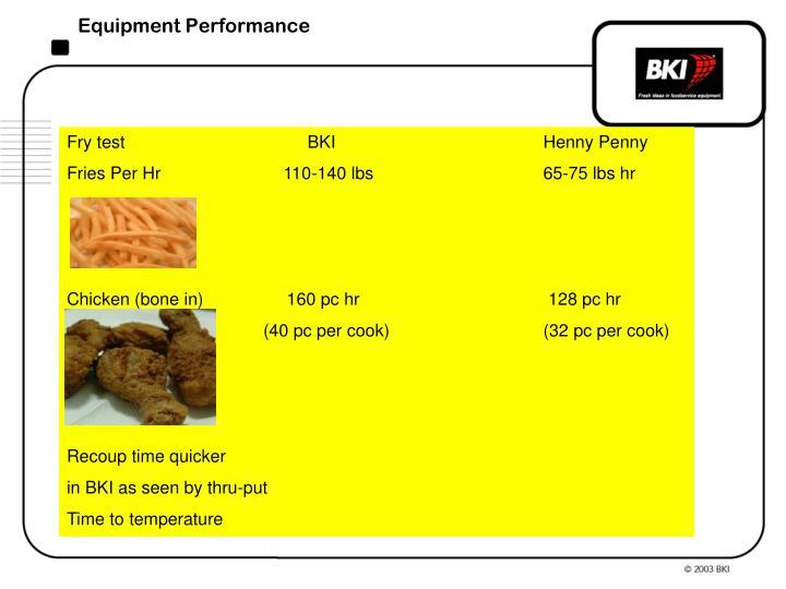 Equipment Performance