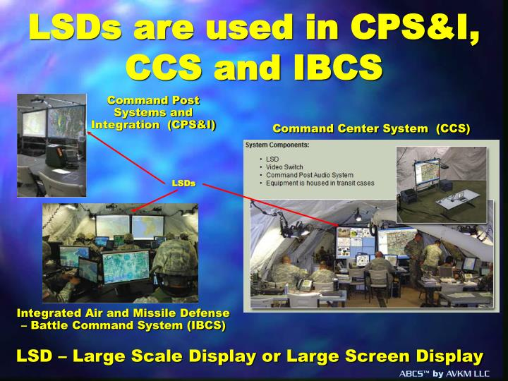 LSDs are used in CPS&I, CCS and IBCS