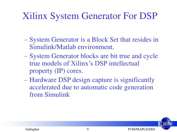 Xilinx System Generator For DSP