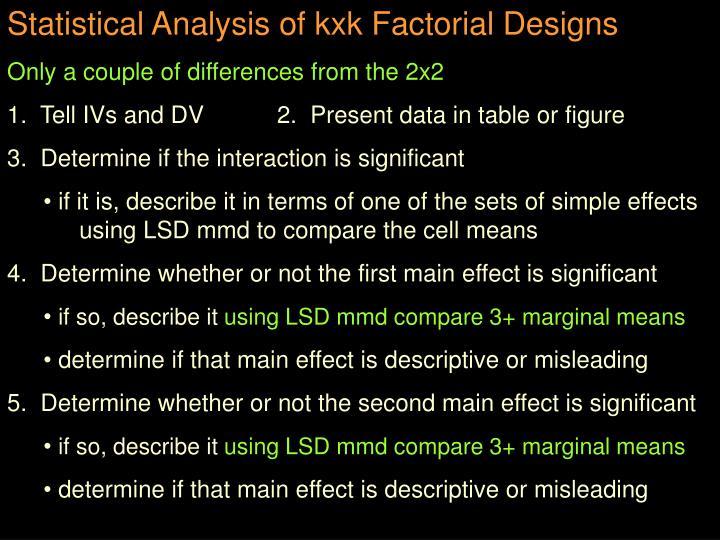 Statistical Analysis of kxk Factorial Designs