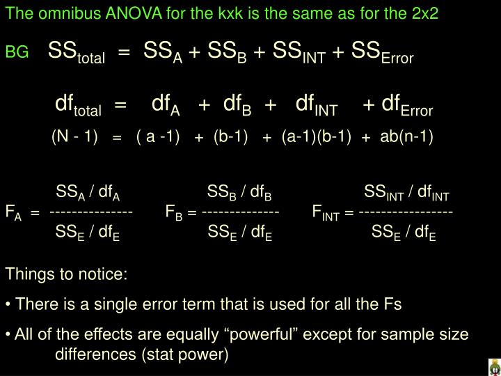 The omnibus ANOVA for the kxk is the same as for the 2x2