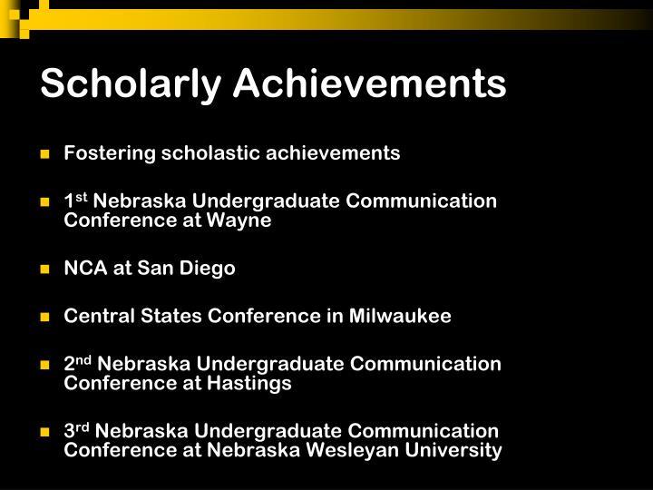 Scholarly Achievements