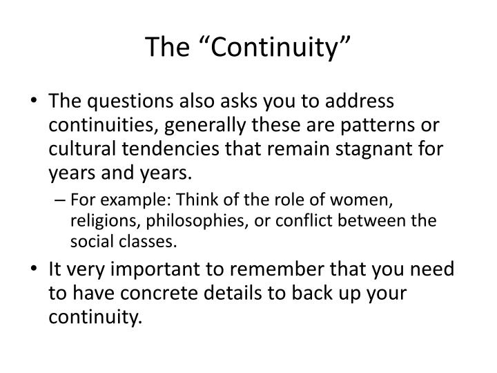 "The ""Continuity"""