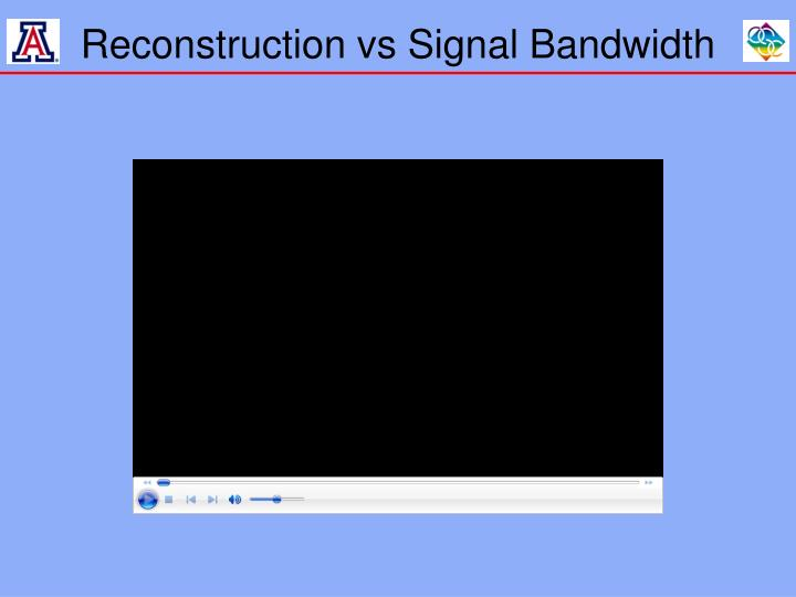 Reconstruction vs Signal Bandwidth
