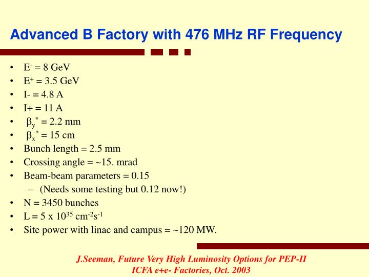 Advanced B Factory with 476 MHz RF Frequency