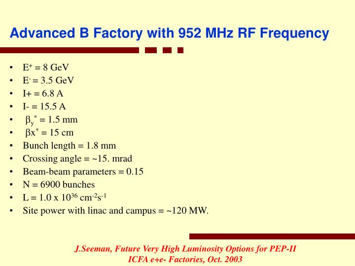 Advanced B Factory with 952 MHz RF Frequency