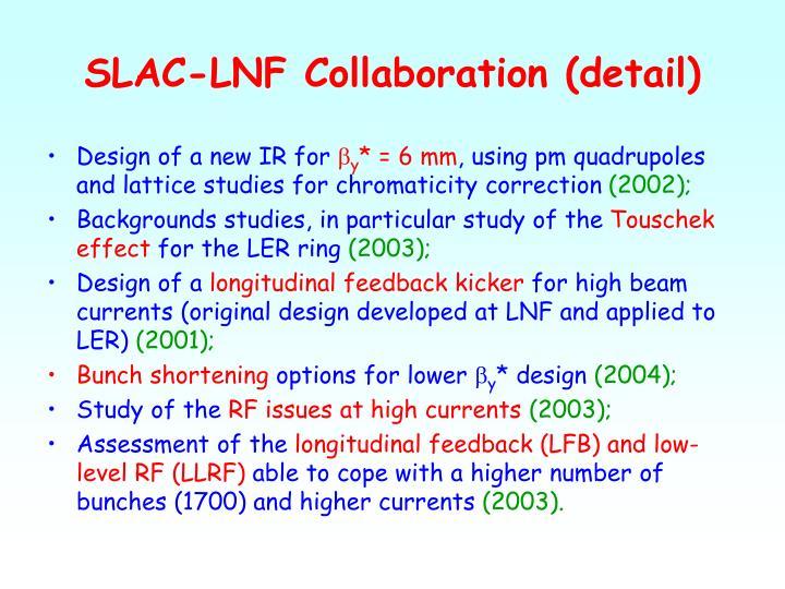 SLAC-LNF Collaboration (detail)