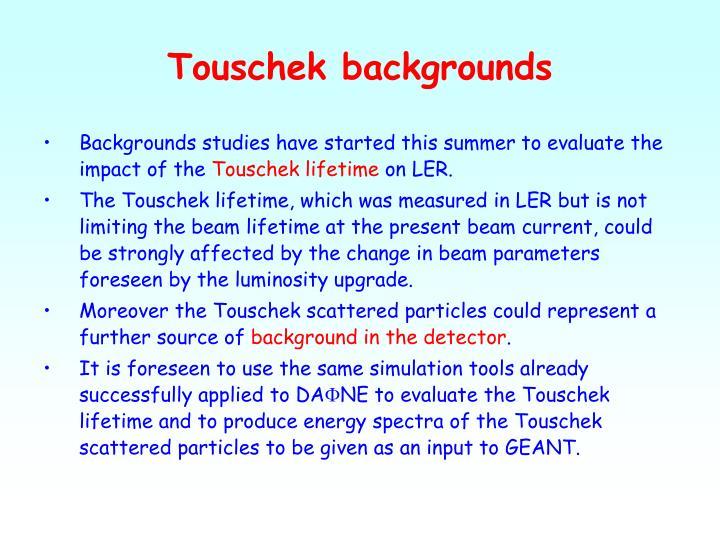 Touschek backgrounds
