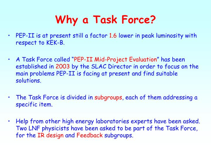 Why a Task Force?