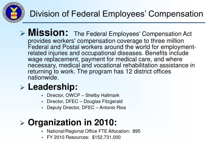 Division of federal employees compensation