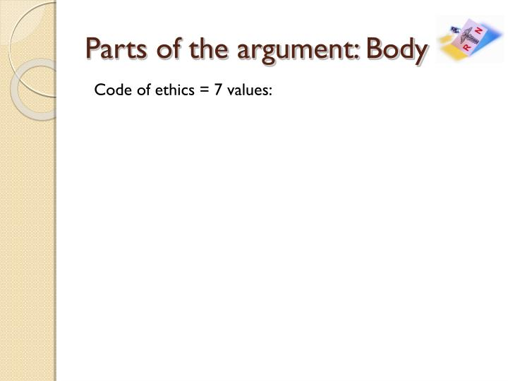 Parts of the argument: Body