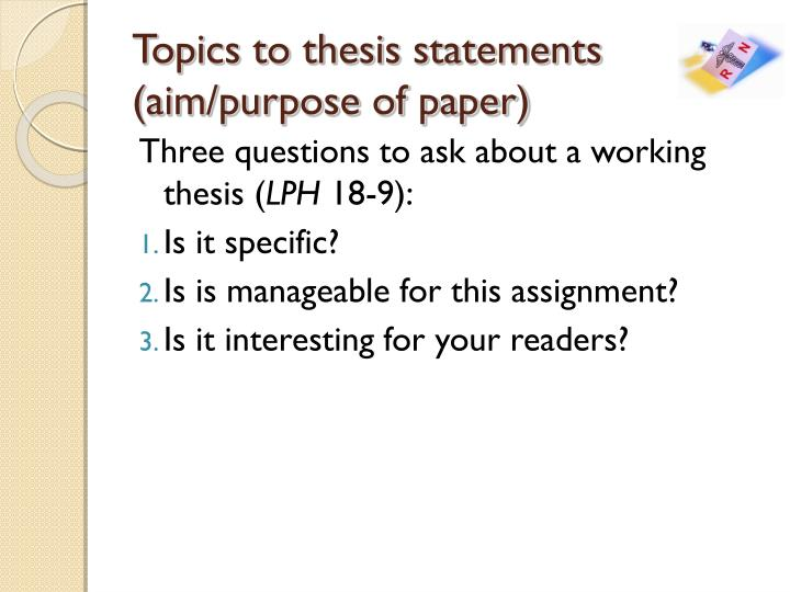 Topics to thesis statements
